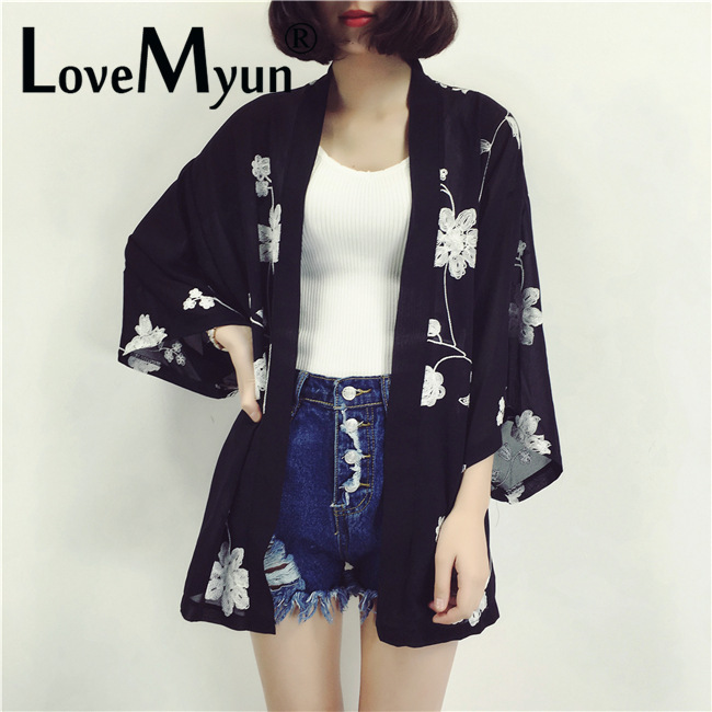 2019 New Summer Women Chiffon Blouse Bat Sleeve Ultrathin Embroidery Kimomo Cardigan Girl Tops Outside Feminina