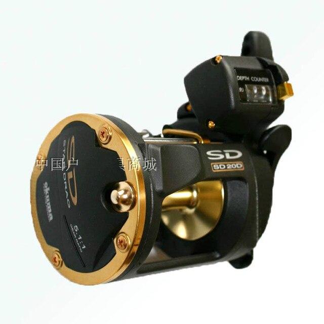 Okuma SD-20d 3 bearings belt counter metal fishing trolling wheel drum fishing vessel fishing reel