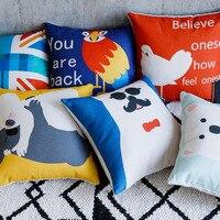Cartoon Cute Animal Cushion Covers UK Throw Pillow Cases Pillowcase Bear Bird Cotton Linen Car Covers