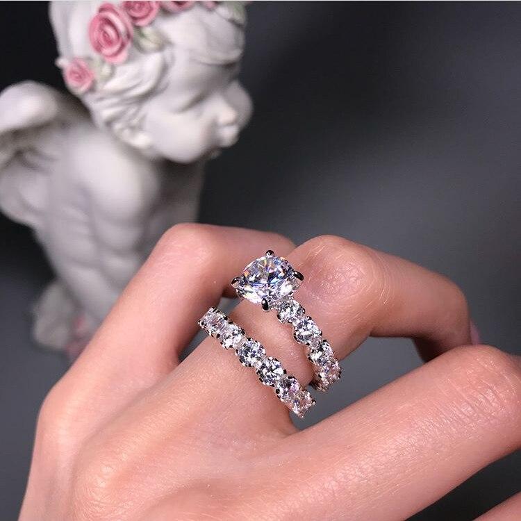 Bague de mariage en argent Sterling pour amoureux couleur argent cristal CZ Couple anneaux ensemble complet zircone femmes fiançailles bagues de mariage