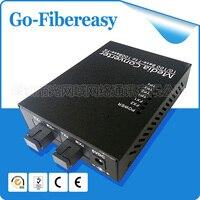 2pcs/lot 2FX/4TX BiDi 10/100Mpbs Optical Fiber Media Converter Singlemode Simplex 2 SC port and 4 UTP RJ 45 connector 40KM