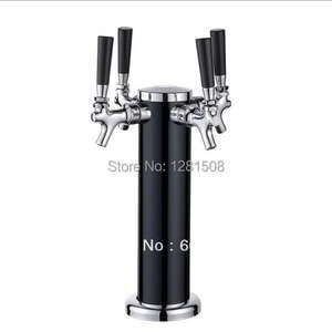 four 4 Tap Stainless Steel Draft Beer Tower Kegerator Dual Chrome FaucetsFour taps BLACK Beer tower