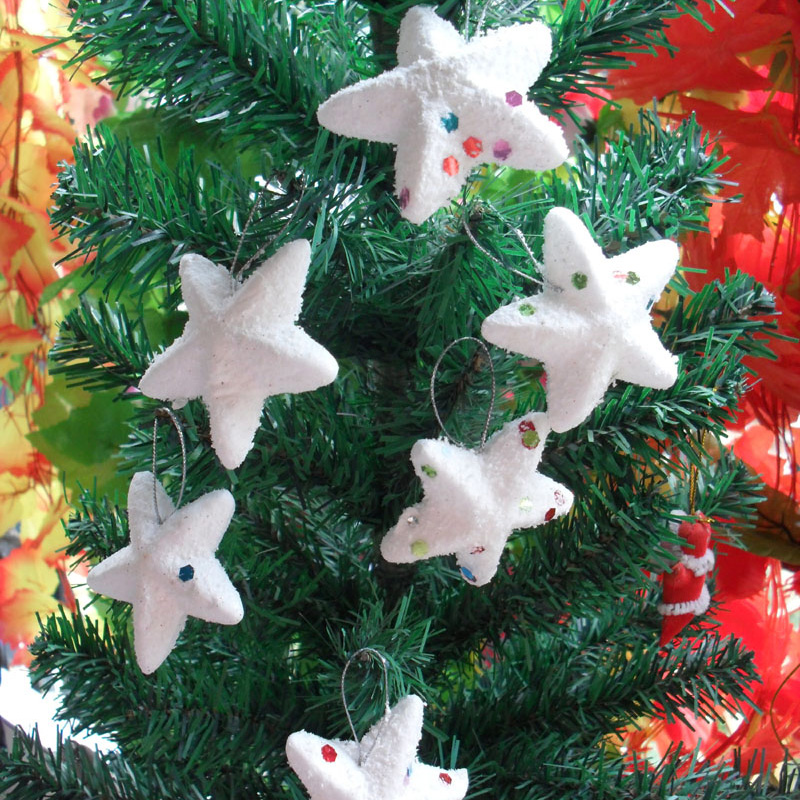 6 pcs/lot snow star christams tree decoration pendant christmas decoration for home window party supplies ornament