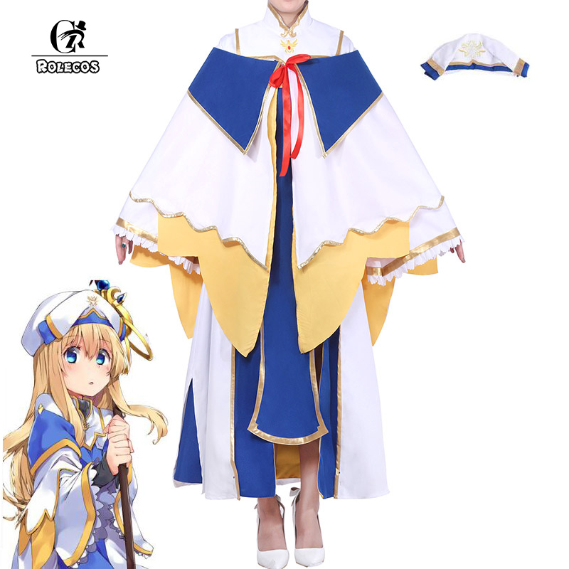 a1ed88fa1 ROLECOS Anime Goblin Slayer Onna Shinkan Cosplay Costume Priestess Perucas  Women Cosplay Dress Girl Uniform Party
