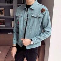 Blue Denim Jackets Mens Black Cowboy Jackets Mens Social Veste Homme Slim Fit Letter Bomber Jackets Jean Veste Homme Streetwear