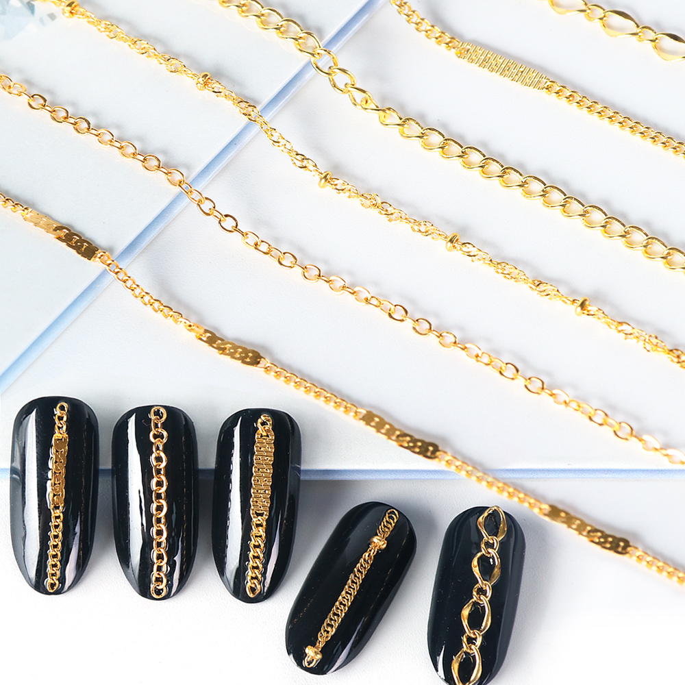 6 шт., металлические цепочки для украшения ногтей