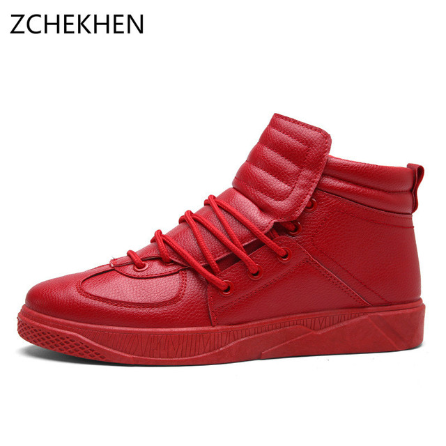6dc83066fc73 2018 Fashion High Top Casual Shoes For Men Leather Lace Up Red White Black  Color Mens Casual Shoes sneaker students