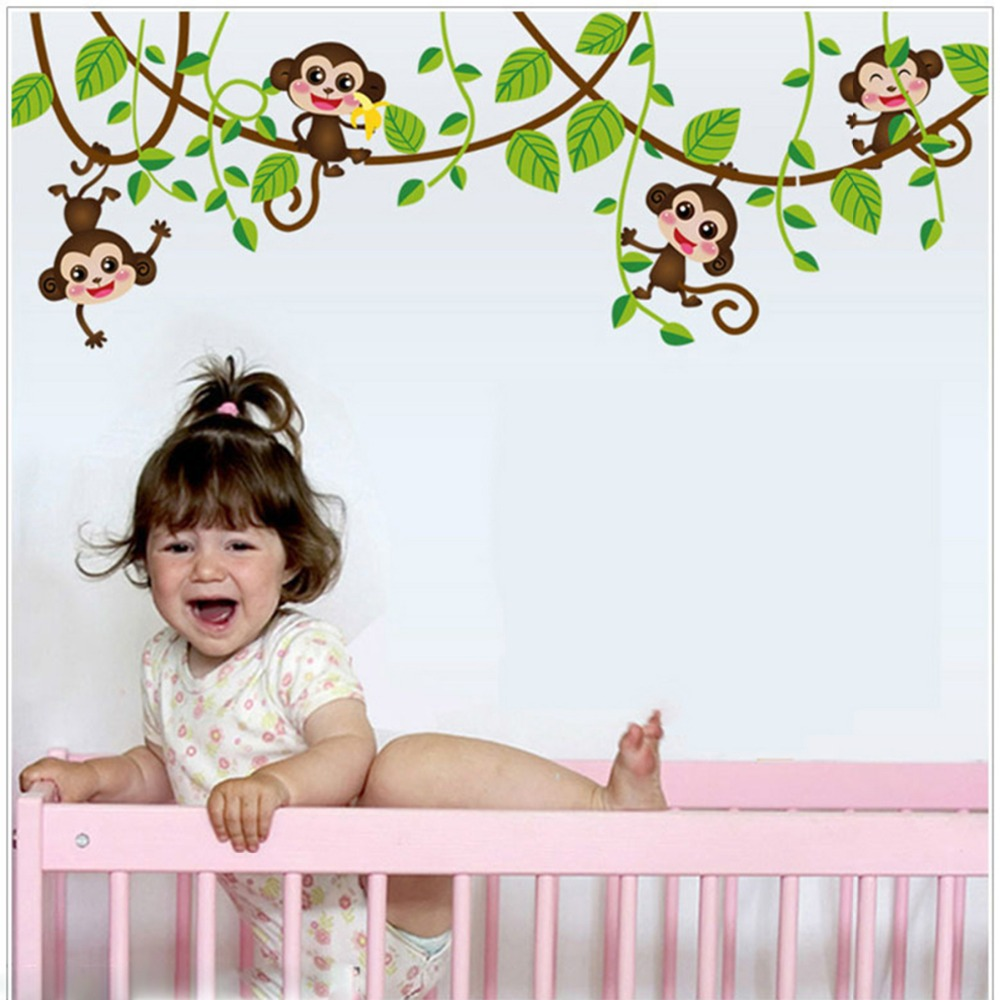 4 Cute Monkeys Wall Decals Sticker Nursery Decor Mural: Aliexpress.com : Buy Cute Mini Monkeys Vinyl Wall Stickers