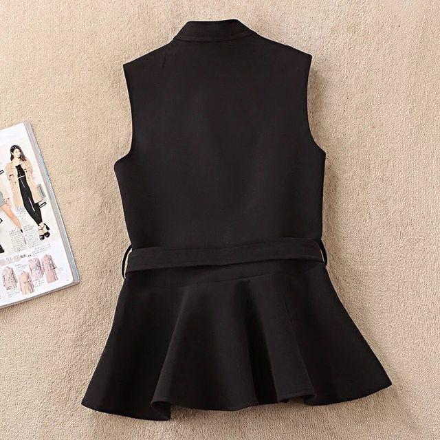 Autumn Vest Lace Up Ruffles Slim Sleeveless Plus Size Waistcoat 3