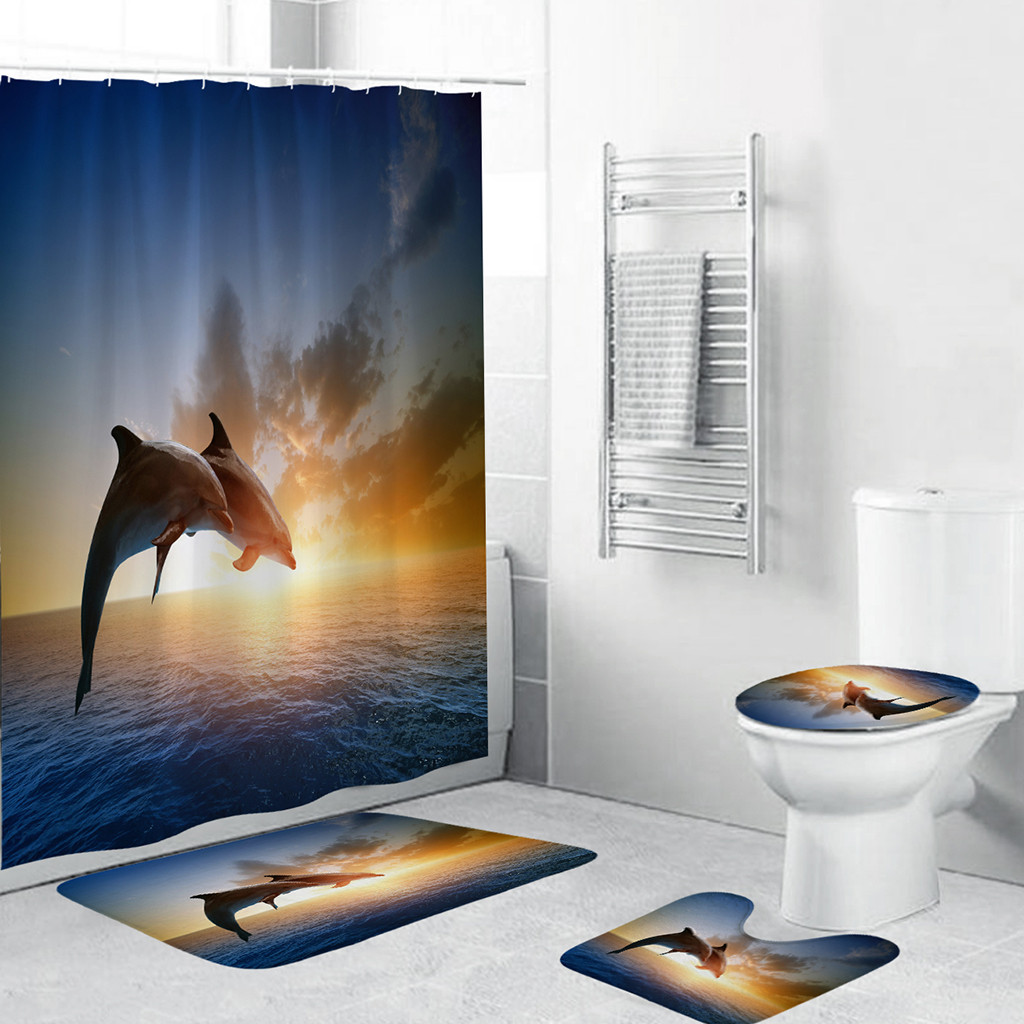 4PCS Non Slip Toilet Polyester Cover Mat Set Sea World Shower Bath Curtain Toilet WC Rugs Shower Room Accessories L0610