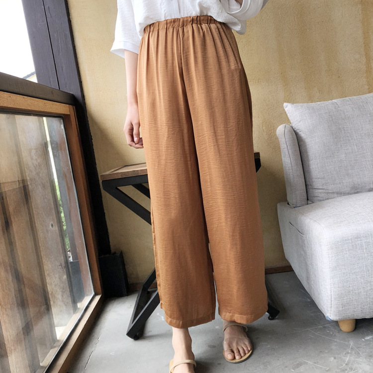 fd660f0f36f Summer Imitation Silk Satin Wide Leg Pants Women Ankle Length Solid Elastic  Waist Cropped Pants Soft Casual Loose Trousers Thin-in Pants   Capris from  ...