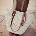 Mulheres saco de 2017 Bolsas de luxo de Moda de Nova High Street Mulheres saco de Praia Casual Wear Contraste Branco Alça de Palha Sacola Grande saco