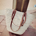 women bag 2017 luxury New Fashion High Street Handbags Womens Casual Beach bag Wear White Contrast Handle Straw Large Tote Bag