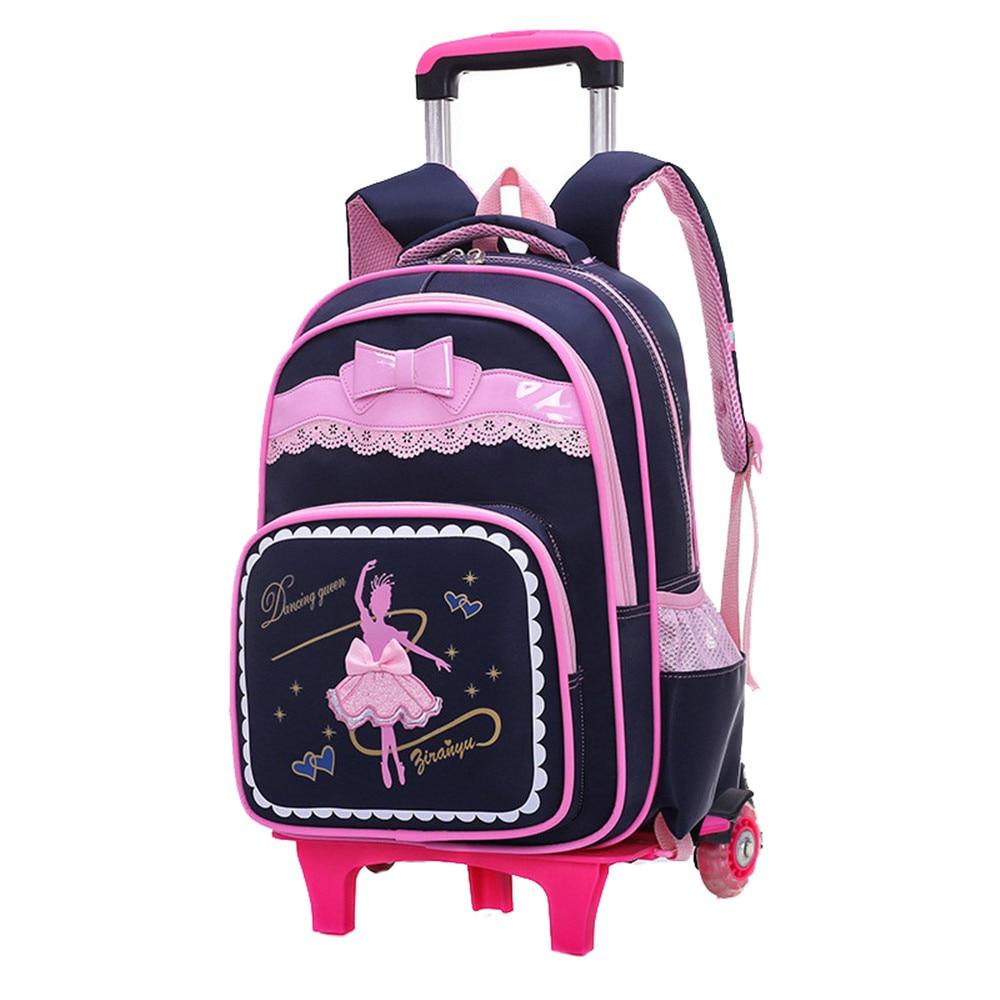 Us 35 0 50 Off Cartoon 2 6 Wheels S Trolley School Bags Backpack Detachable Children Rolling Book Bag Waterproof Travel Mochila In