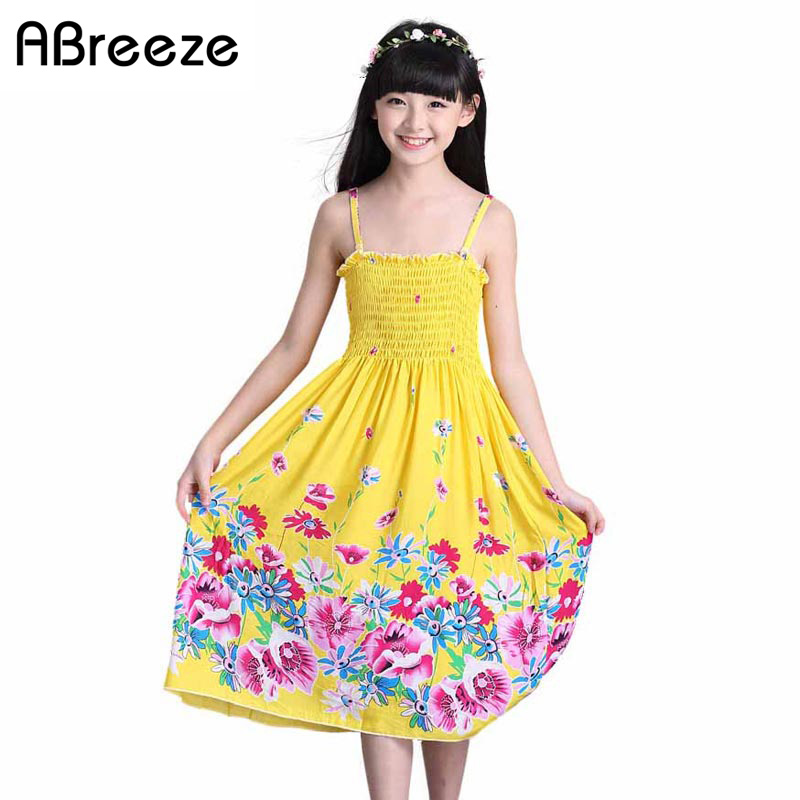 2018 New 2-11T summer children girls dresses Style necklace long kids beach dresses bohemian sundress big teenage girls costumes new summer style girls dresses fashion knee length beach dresses for girls sleeveless bohemian children sundress girls yellow 3t