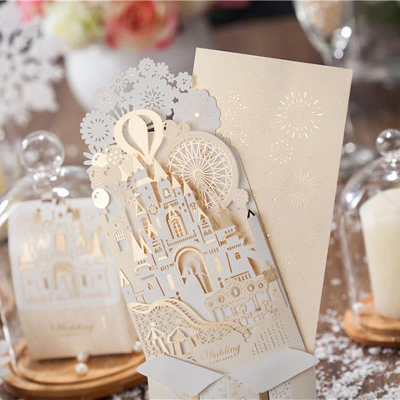 Gold Laser Cut 3d Ring Pop up Wedding Invitations Romantic Handmade ...