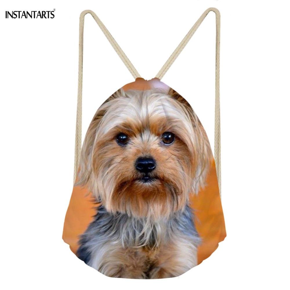 INSTANTARTS 3D Cute Yorkshire Terrier Prints Drawstring Bag Woman Light Weight Backpack Fashion Mini Ladies Shoulder
