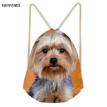 INSTANTARTS 3D Cute Yorkshire Terrier Prints Drawstring Bag Woman Light Weight Backpack Fashion Mini Ladies Shoulder Bag Travel
