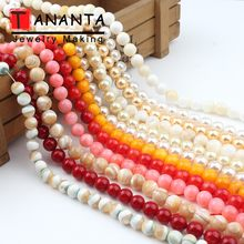 6 8 10 mm Natural White Trochus Shell Beads Round Loose Beads For Jewelry Making DIY Necklace Bracelets Charms Wholesale 15 inch(China)