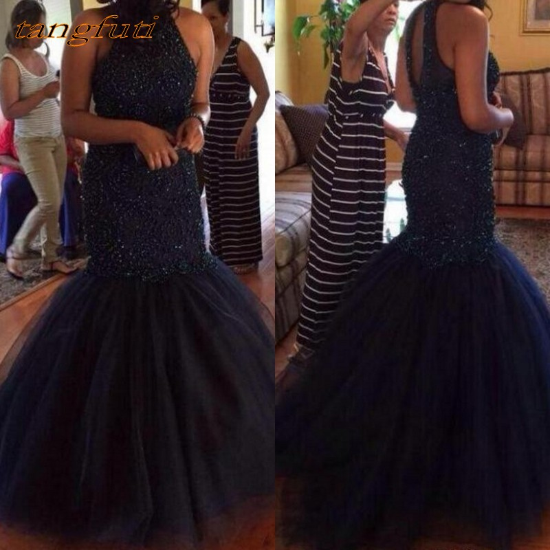 Navy Blue Mermaid   Evening     Dresses   Backless Sleeveless Beading Tulle Party   Evening   Gowns Formal Party Gown Vestido De Festa