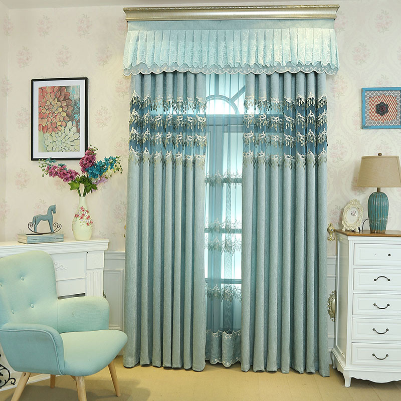 Korean Polyester Cotton Embroidered Tulle Window Curtains For living Room Bedroom Curtains Window Treatment Drapes in Curtains from Home Garden