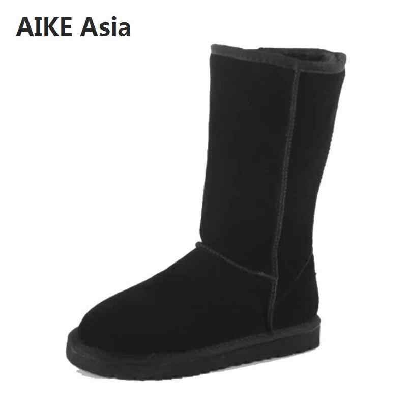 Famous Brand Genuine Leather Fur Snow Boots Women Top High Quality Australia Boots Winter Boots For Women Warm Botas Mujer 3-13
