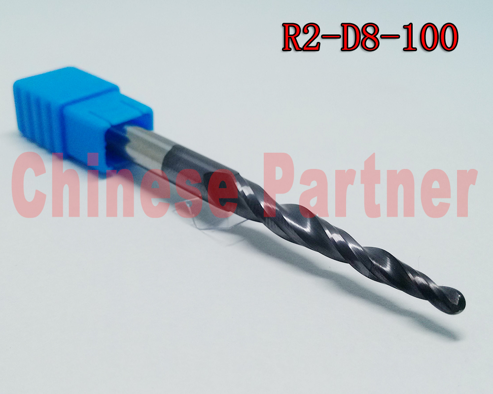 1pc R2*D8*60*100L*2F HRC55 Tungsten solid carbide Coated Tapered Ball Nose End Mills taper and cone milling cutter ferramentas hrc55 r0 2 r0 5 r0 75 r1 0 r0 72 ball end carbide milling cutter tungsten solid steel alloy taper endmill free shipping