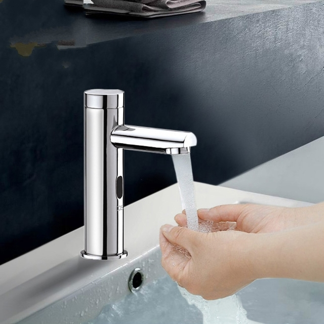 Brass cold Touch Free Infrared Basin Tap Automatic Sensor Faucet ...