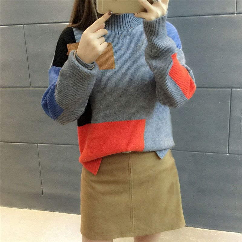 18 Women Sweaters And Pullovers Elegant Turtleneck Sweater Women Jumper Autumn Mixed Colors Knitted Pullover Pull Femme C3682 12