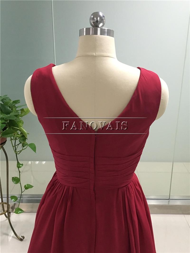 Custom Colors Cheap Bridesmaid Dresses Short V-Neck Burgundy Color Chiffon Ruffles Wedding Guest Dresses Prom Party Gown BM09