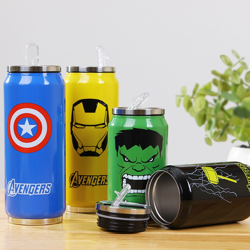 Avengers Stainless Steel Vacuum Cup 350mL/500mL Straw Mug Thermal Water Bottle Tumbler Thermo Cup