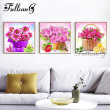 FULLCANG diy 5d diamond embroidery pink rose flower triptych painting 3 piece full square/round drill mosaic pattern decor FC653