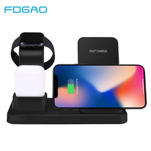 3 in 1 Qi Wireless Charger for iPhone XS XR X 8 Airpods Samsung S10 S9 Fast 10W Charging Dock Station for Apple Watch 4 3 iWatch 3 in 1 qi wireless charger pad for apple watch 2 3 4 airpods fast charging dock station for iphone xr xs max x 8 samsung s10 s9