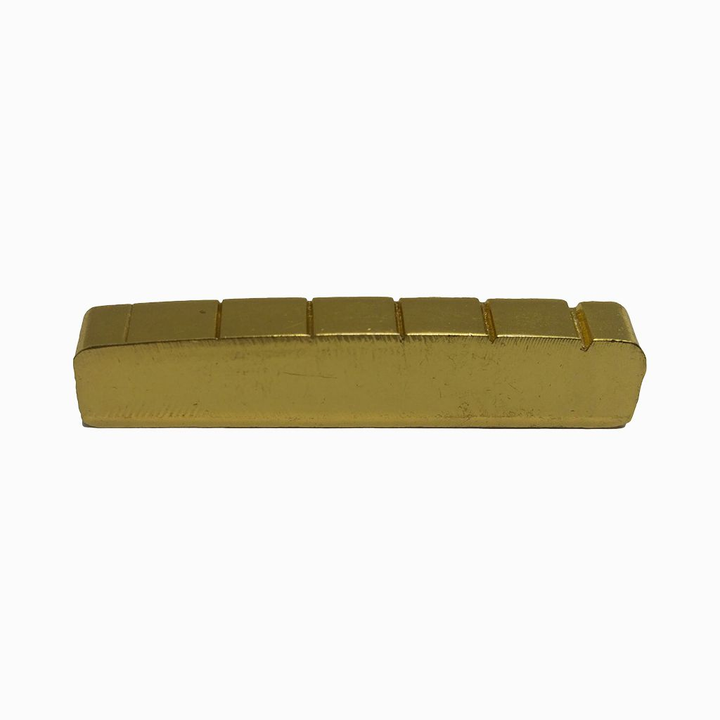 Music-S-6 String Slotted Brass Gold Palted Acoustic Guitar Nut for Acoustic Guitar 42 * 6 * 8.2-7.5mm
