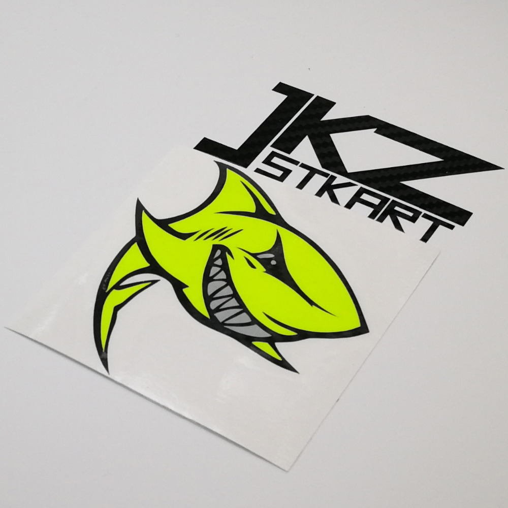 Car Sticker Cartoon Neon Yellow Shark Smile Die Cut Vinyl Multilayer Decal