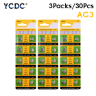 YCDC 30x Long Lasting 1.55v Toy Electronic Scale Watch Battery 192 384 392 392A AG3 LR41 L736 LR736 SR41 SR41SW Button Coin Cell