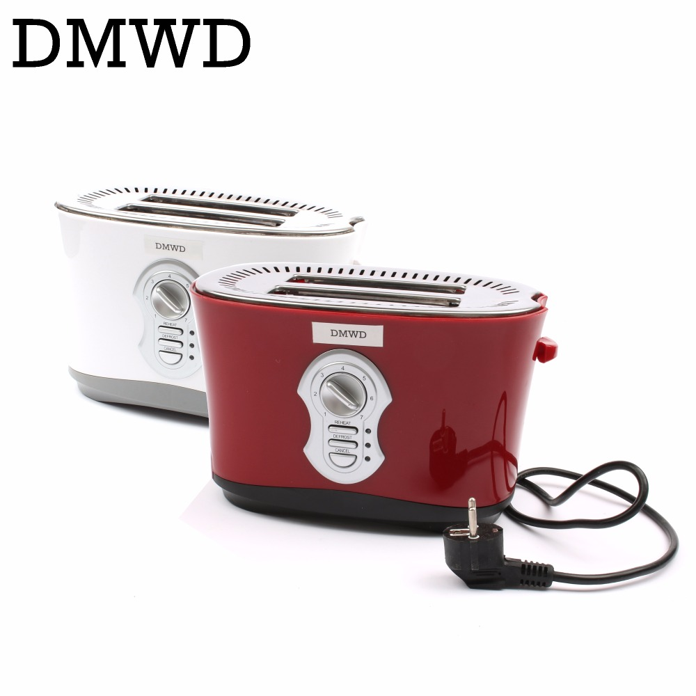 DMWD Stainless Steel bread Toaster Oven Automatic Toast baking Machine Electric sandwich Breakfast maker 2 Slices Slots EU plug cukyi 2 slices bread toaster household automatic toaster breakfast spit driver breakfast machine