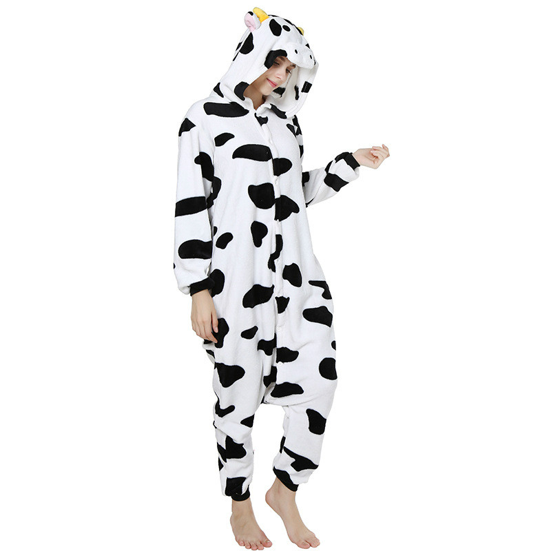 Flannel Tracksuit Cow Cartoon Animal One-piece Pajamas Male And Female Big Cow Onesies