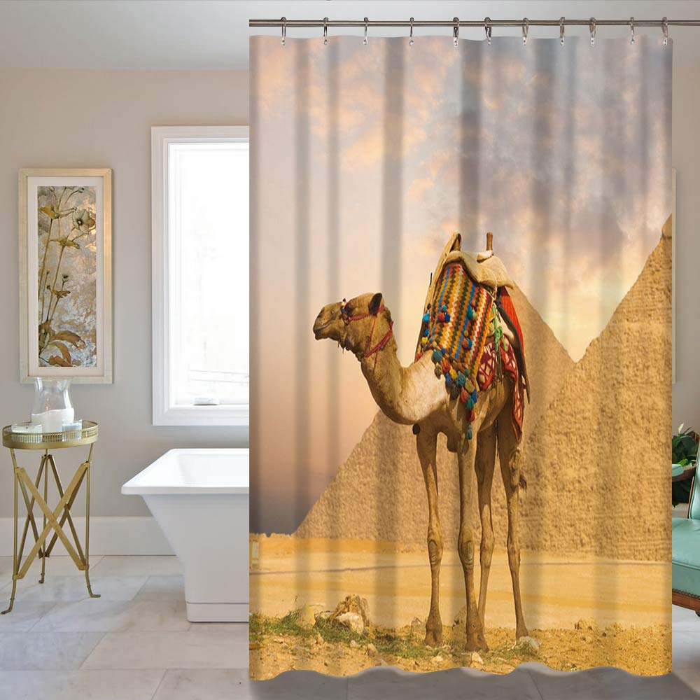 Camel Theme Waterproof Fabric Home Decor Shower Curtain Bathroom Mat 60X72inch 72X72inch Wholesale