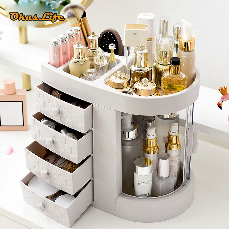 Waterproof Make Up Cosmetics Collection Box Dust Cover Box Organizer Drawers Brushes Storage Box Jewelry Container Indoor Use