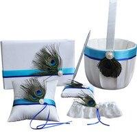 5pcs/set (Guest book+Flower Basket+Pen Holder+Ring Pillow+Garter) Artificial Peacock Lace Flower Decor Bridal Mariage Decoration