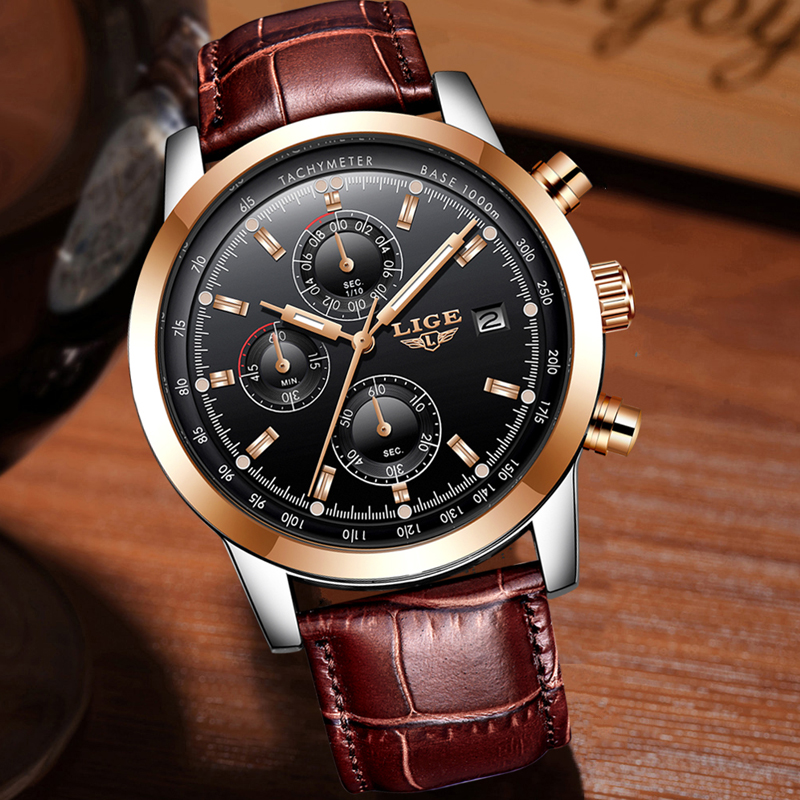 LIGE Mens Quartz Chronograph Tachymeter Watch Leather Band 1
