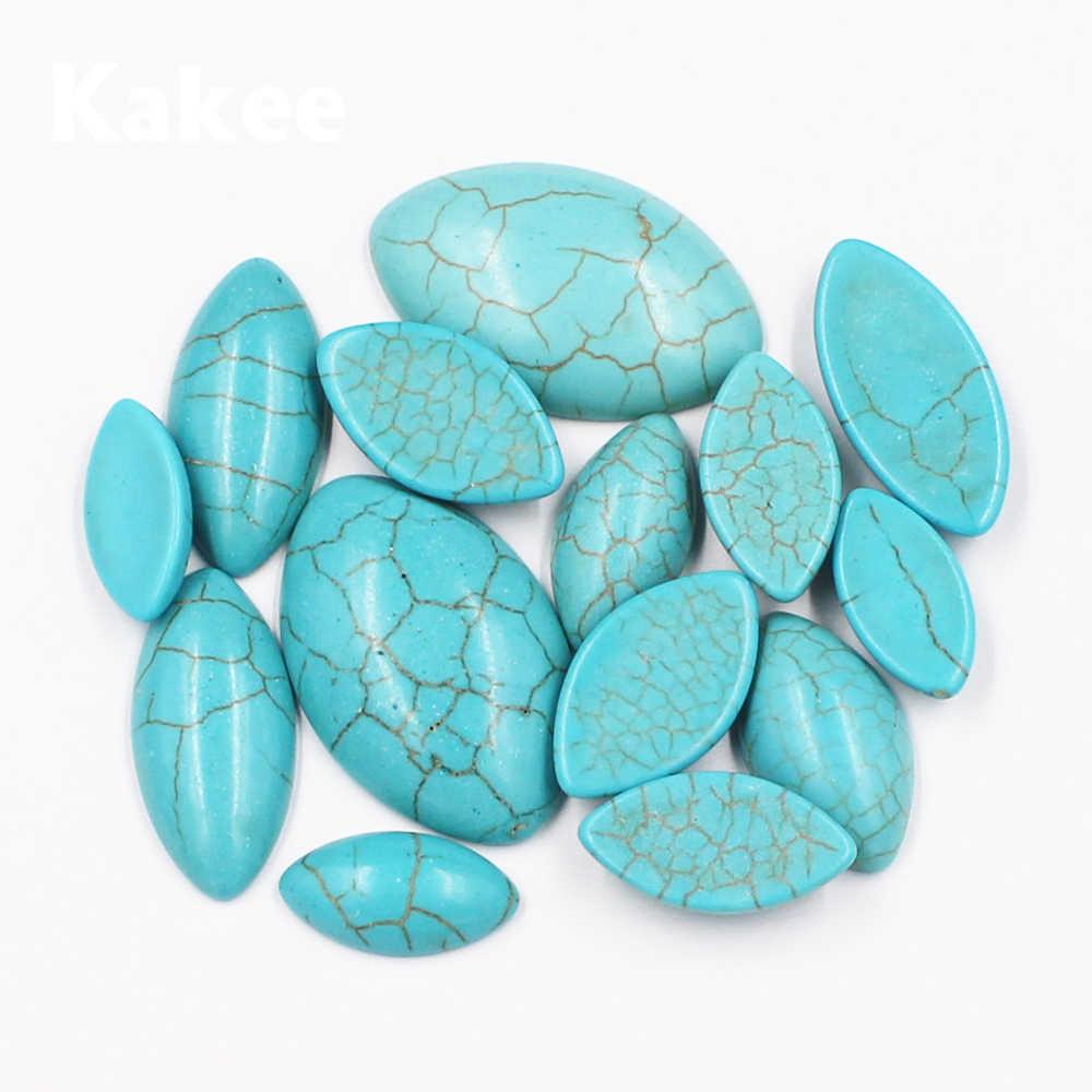 Kakee 10ชิ้นภรรยารูปร่างธรรมชาติอัญมณีหินแหวนคาโบชองแบนกลับTurquoisesลูกปัดสำหรับเครื่องประดับDIYทำวัสดุหา