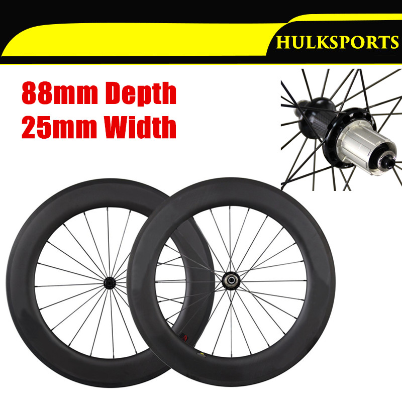 Hot Wheels 25mm Width 88mm Clincher Road Bike Carbon wheelset 700C Powerway R36 Hubs with Pillar Spokes Rodas de Carbono