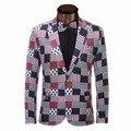 2017 Chegada Nova Primavera Moda Elegante Terno dos homens Slim Fit Jaqueta Business Casual Vestido de Impressão Blazers Terno Homens Blazer