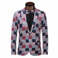 2017 Nueva Llegada de La Moda de Primavera Elegante Vestido de Slim Fit hombres Traje Chaqueta Casual de Negocios de Impresión Blazers Hombres Traje Chaqueta