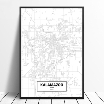KALAMAZOO, MICHIGAN, UNITED STATES Black White Custom World City Map Poster Canvas Print Nordic Style Wall Art Home Decor image