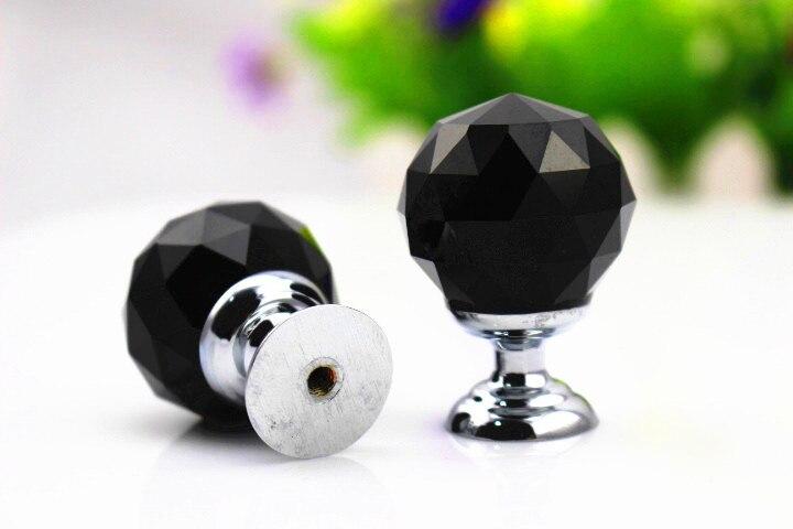 Free Shipping 30mm Zinc Alloy black Crystal Sparkle Glass Kitchen ...