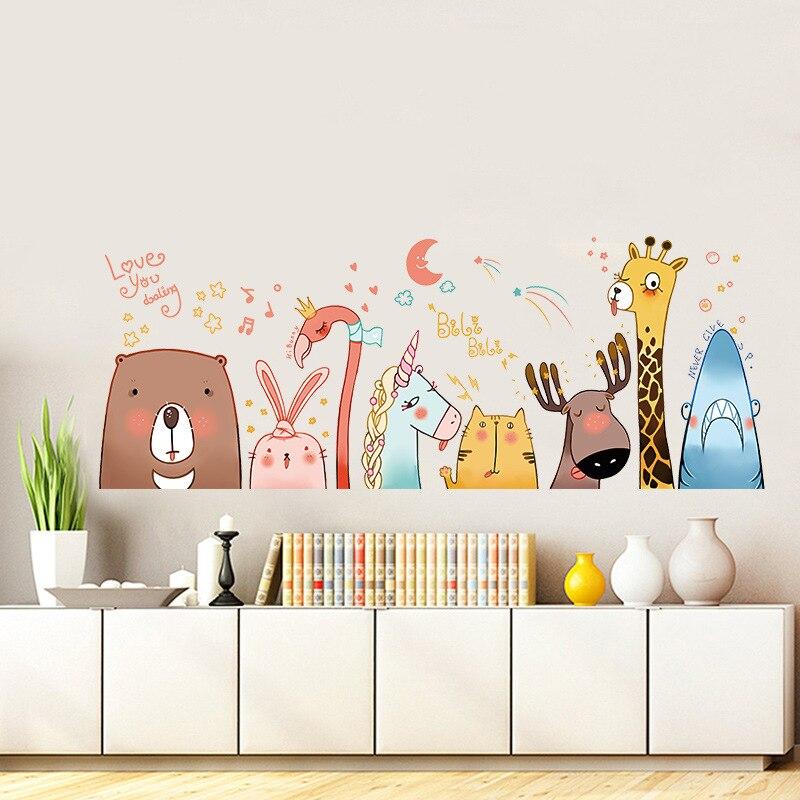 Cartoon Colorful Room: Cartoon Animals Nursery Wall Stickers For Kids Rooms