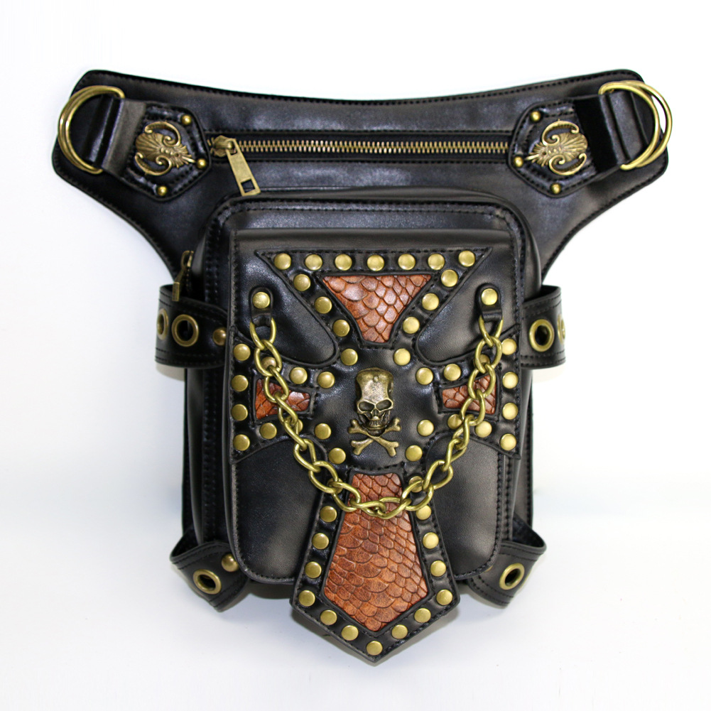 Steampunk Bag Leather Waist Pack Motorcycle Bag Women Shoulder Bag Punk Holster Protected Purse Leg Bag Halloween Accessory